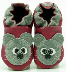 Soft Sole Baby Shoes MOUSE ON PINK