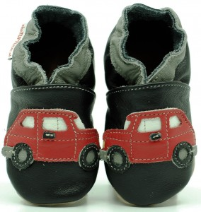 Soft Sole Baby Shoes 4RED CARS ON BLACK