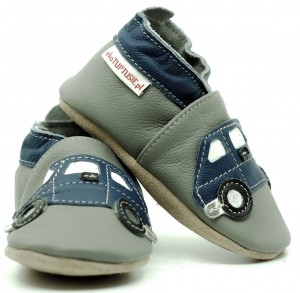 Soft Sole Baby Shoes NAVY BLUE CARS ON GREY