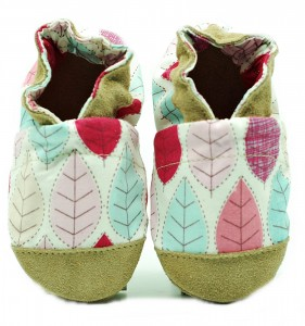 Soft sole ekoTuptusie COTTON pink leaves