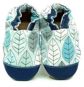 Soft sole ekoTuptusie COTTON blue leaves