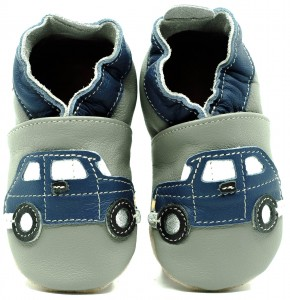 Soft Sole ADULT Shoes NAVY BLUE CARS ON GREY