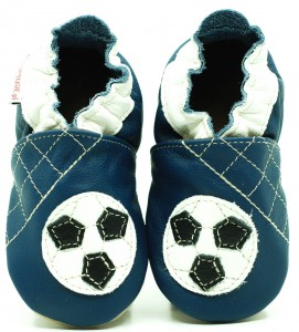 Soft Sole ADULT Shoes FOOTBALL BALL ON NAVY BLUE