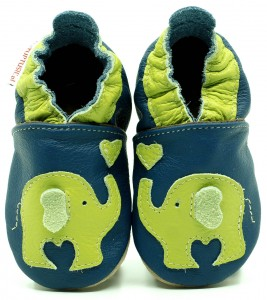 Soft Sole ADULT Shoes GREEN ELEPHANT ON NAVY BLUE