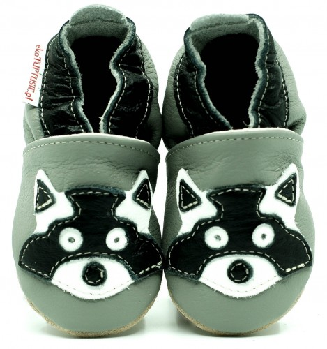 63c692698cfc6 Soft Sole Baby Shoes RACCOON ON GREY