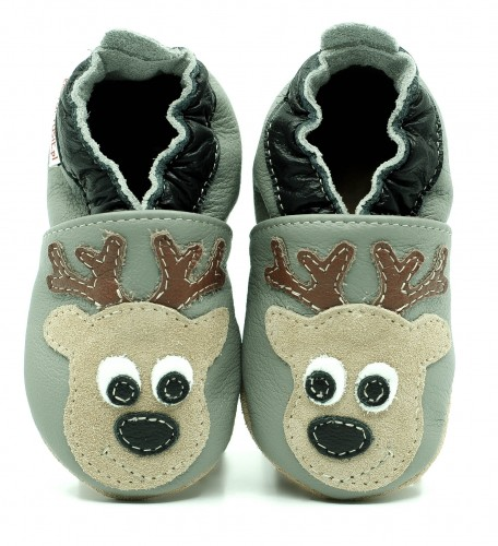 ec5e3011067c2 Soft Sole Baby Shoes DEER ON GREY