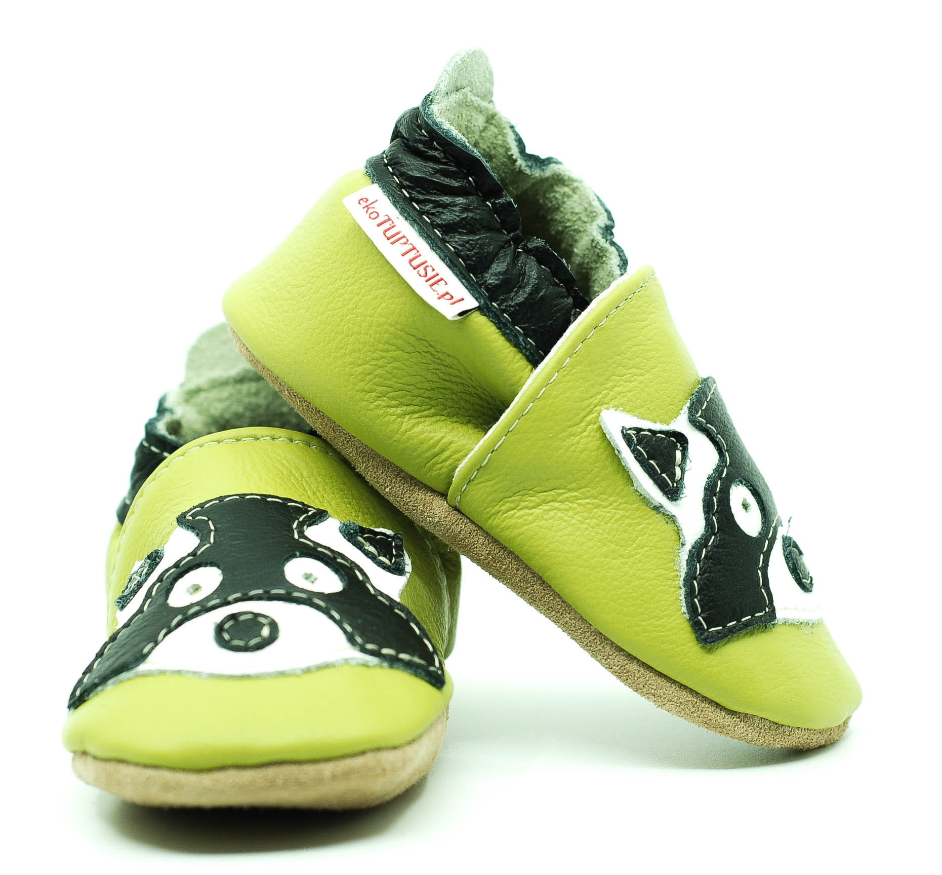 fbcdc431332e1 Soft Sole Baby Shoes RACCOON ON GREEN